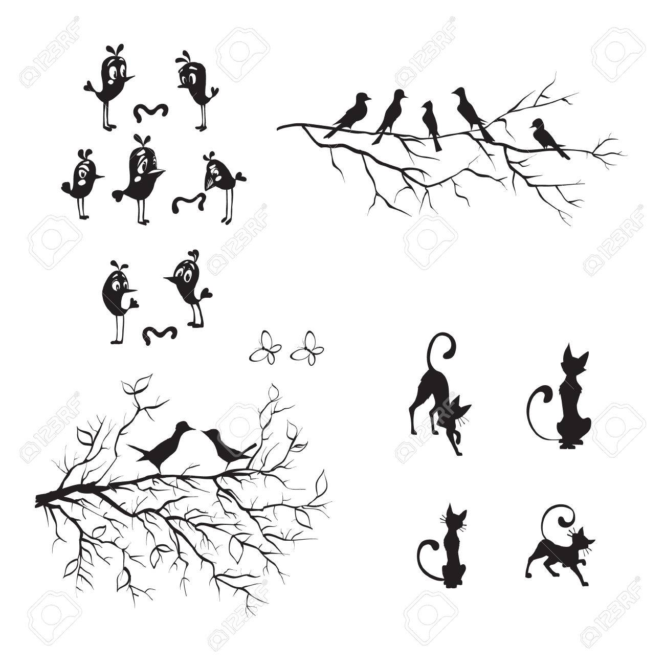 birds vector wall stickers funny silhouettes vector pattern birds vector wall stickers funny silhouettes vector pattern interior cat stock vector