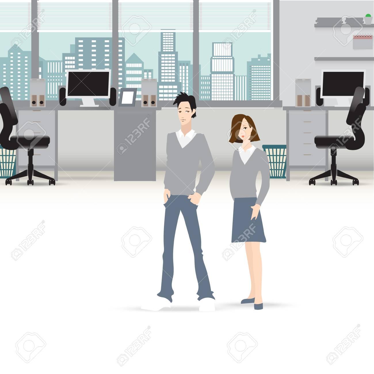 Buro Inter Vektor Business Hintergrund Tische Stuhle Computer