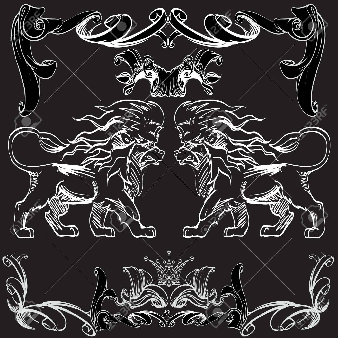 heraldry background for the logo, emblem, lion and shield cloth,