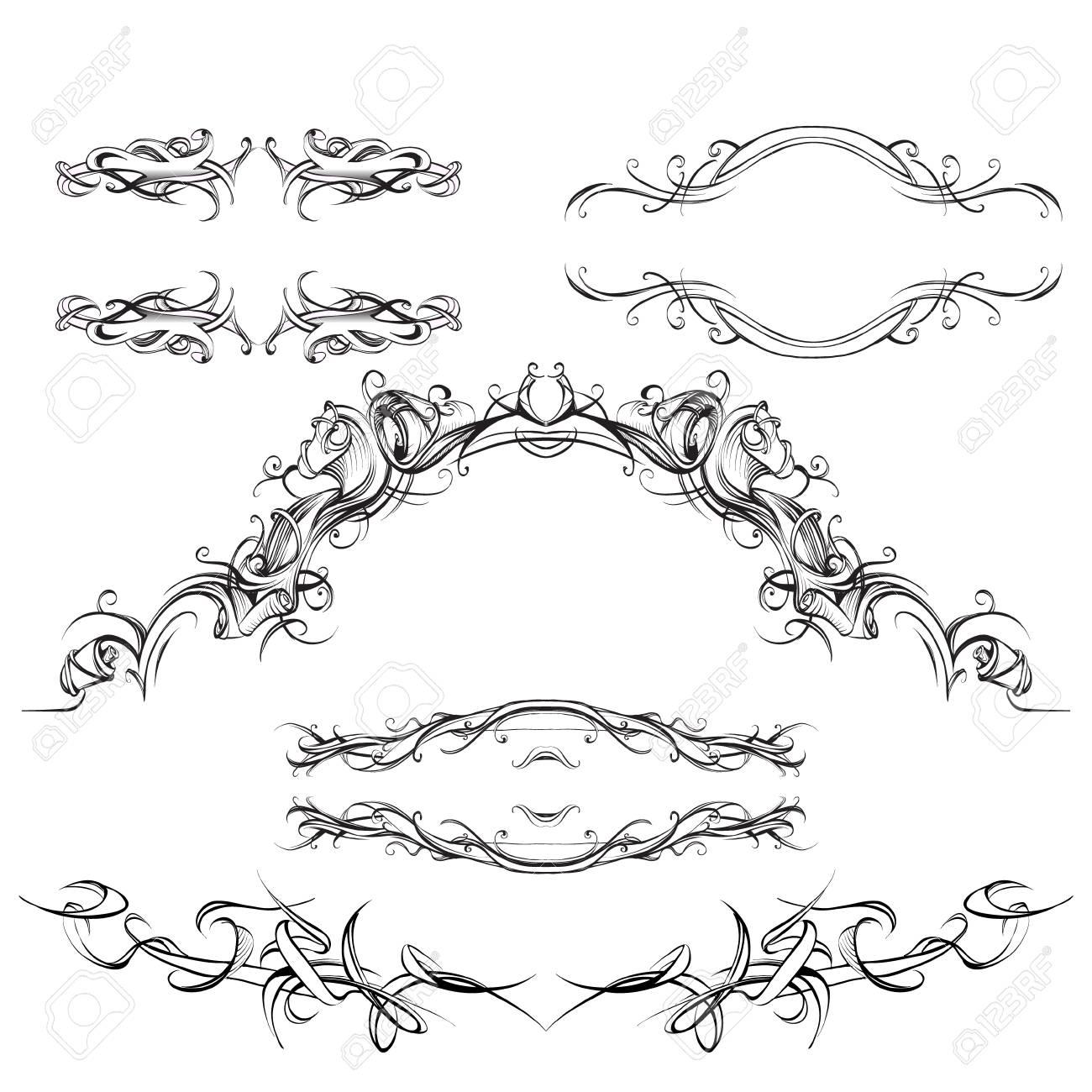 Elementos Decorativos De Estilo Vintage Para El Diseño De La ...