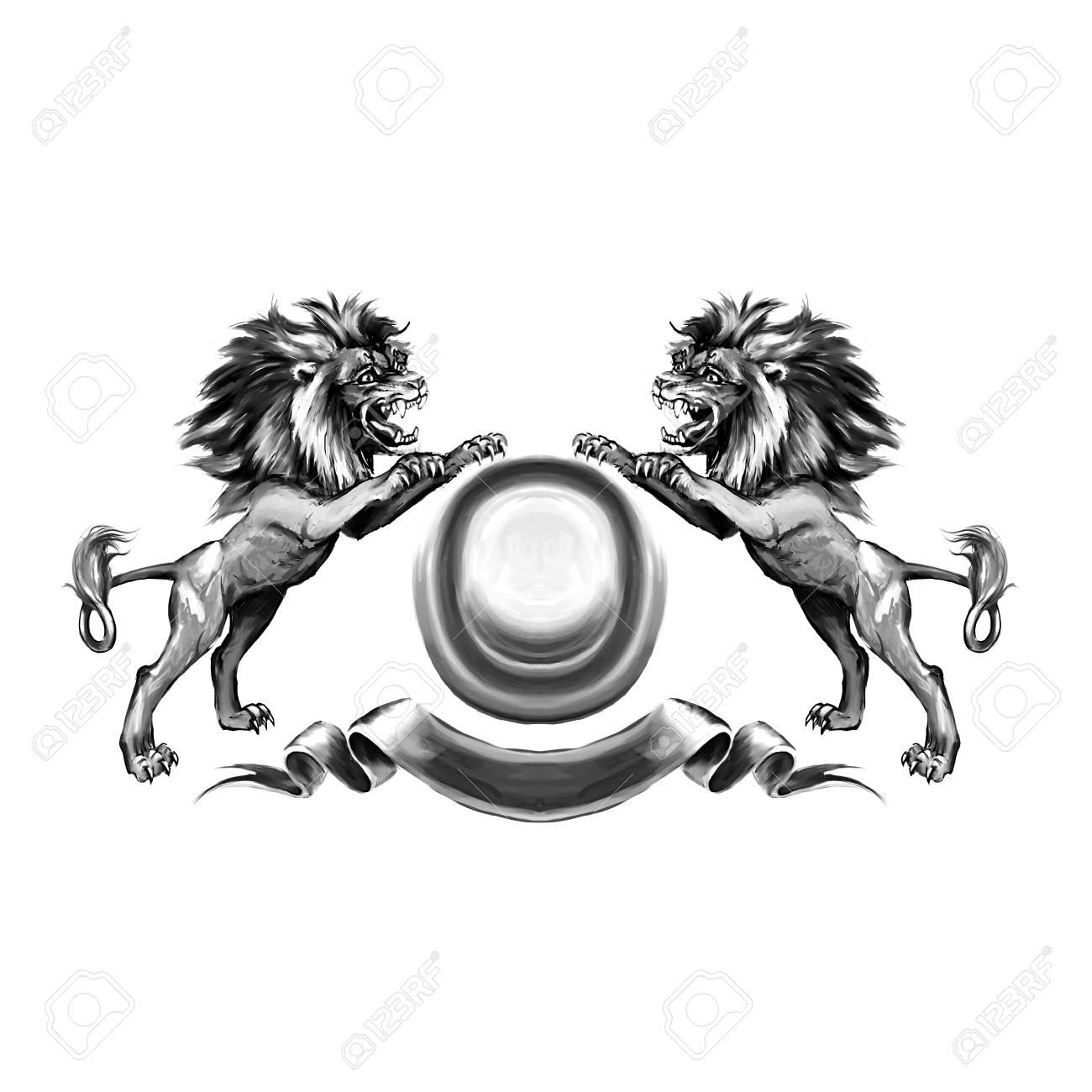 Lions, coat of arms, attacking, heraldic symbol