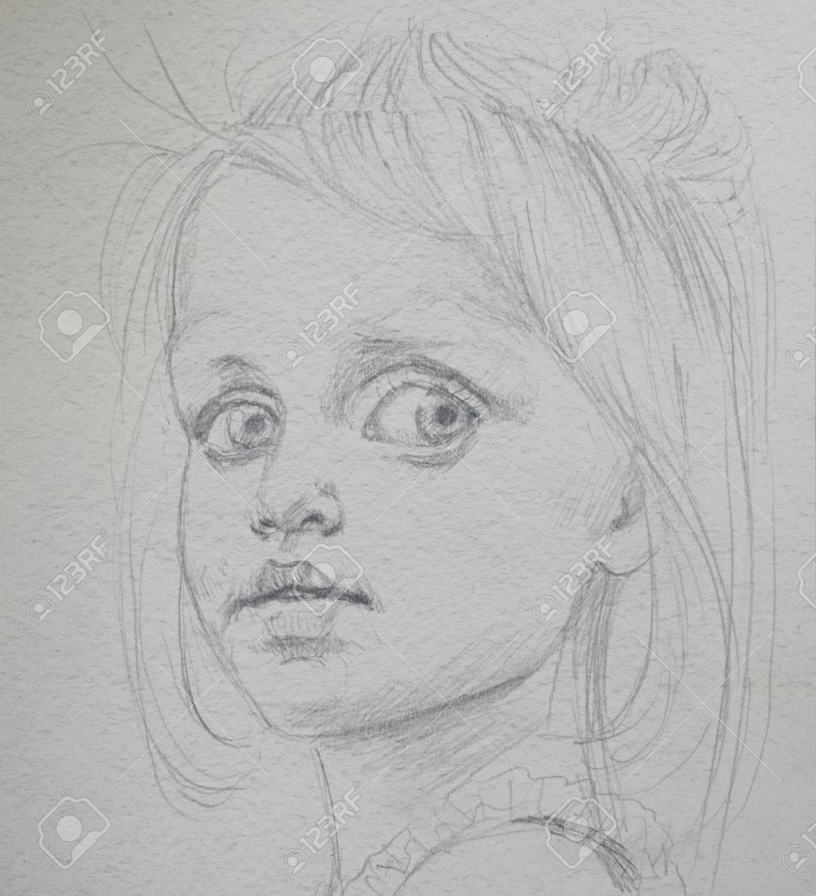 Portrat Zeichnung Bleistift Madchen Lizenzfreie Fotos Bilder Und