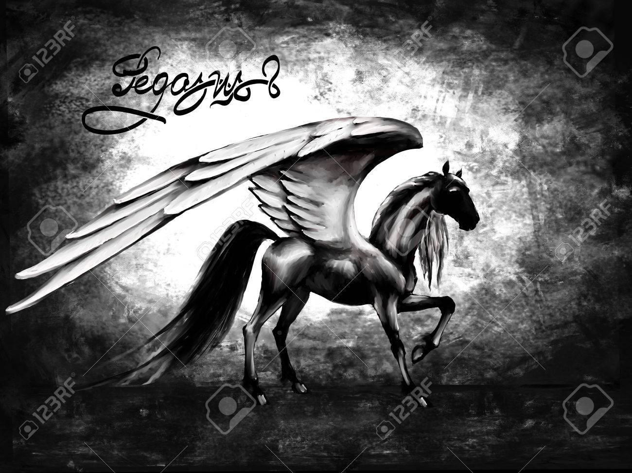 Pegasus Black Horse Wings Fantasy Pattern Stock Photo Picture And Royalty Free Image Image 73014731