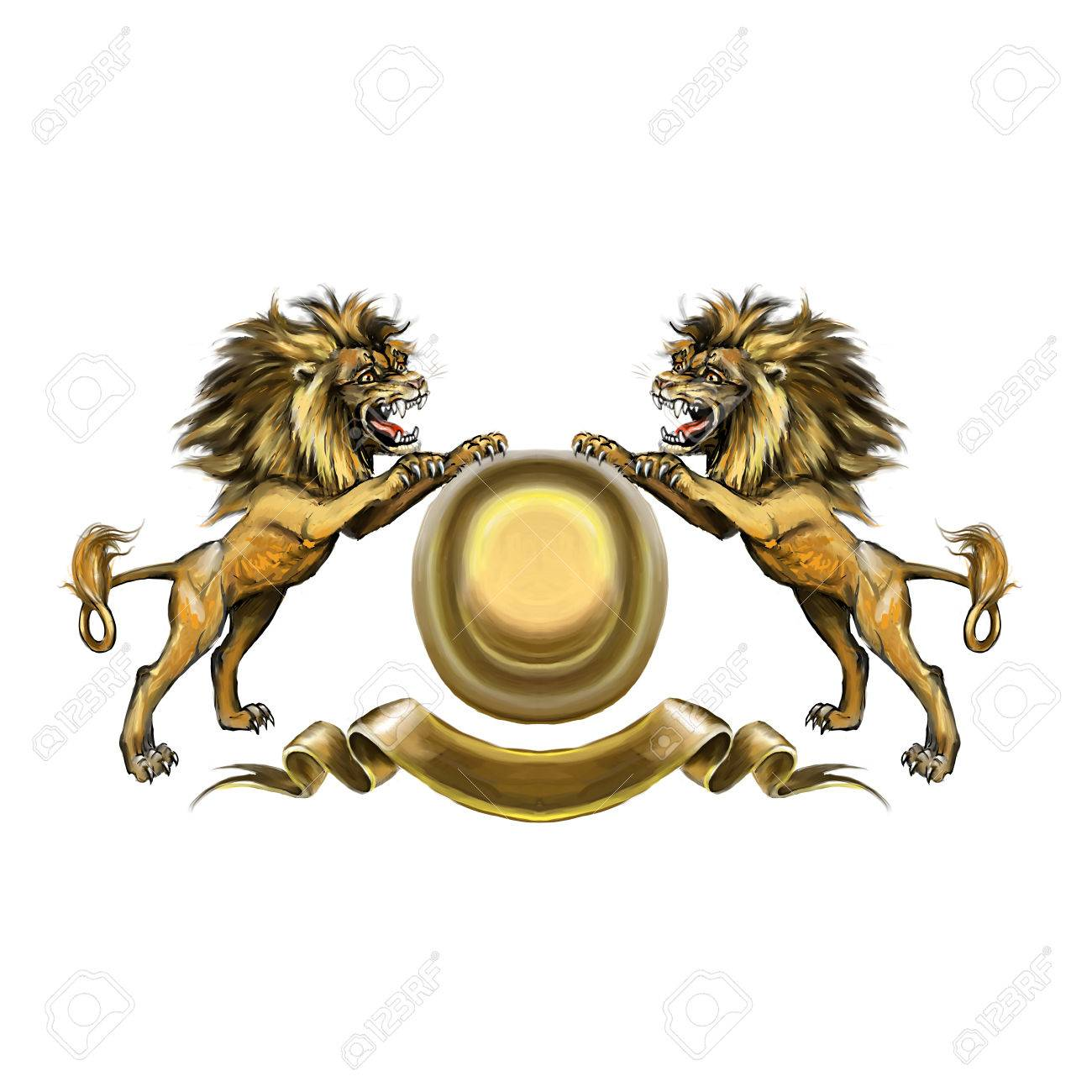 Lions, coat of arms, attacking, heraldic symbol Stock Photo - 73014769