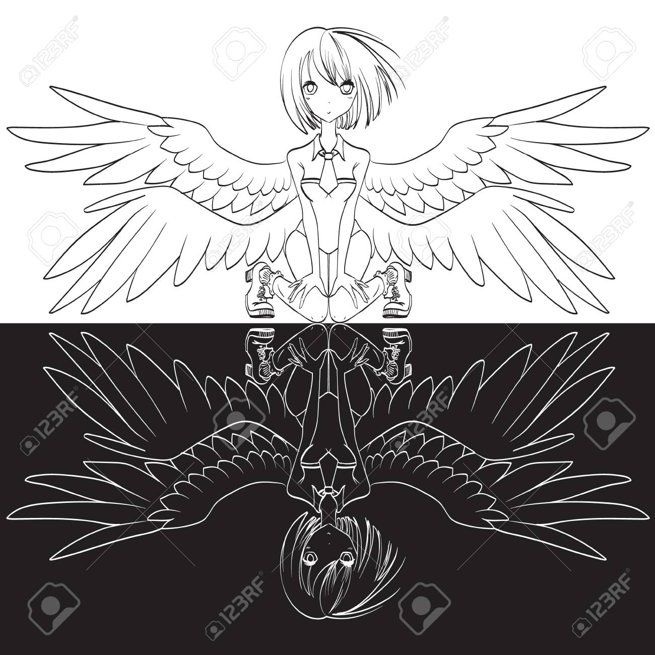 Anime girl with wings angel illustration vector stock illustration 95751605