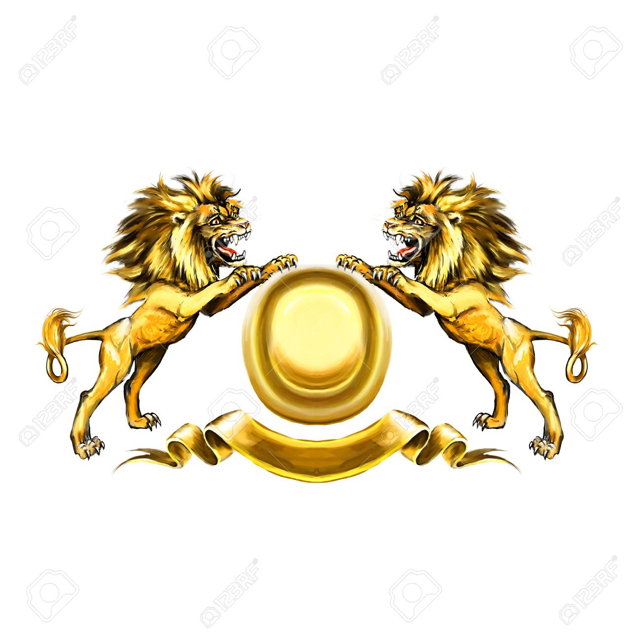Lions Coat Of Arms Attacking Heraldic Symbol