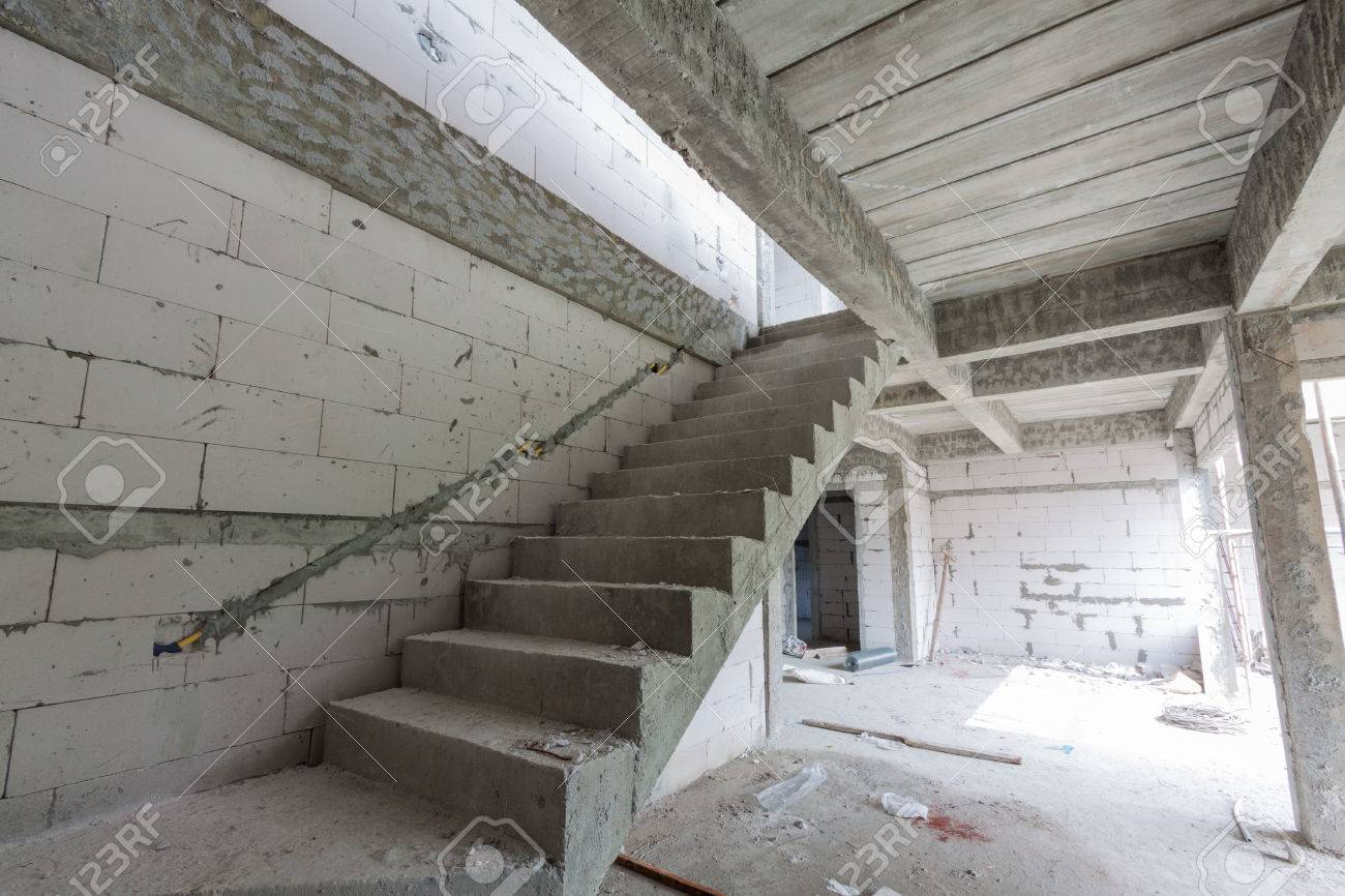 Staircase of modern building under construction