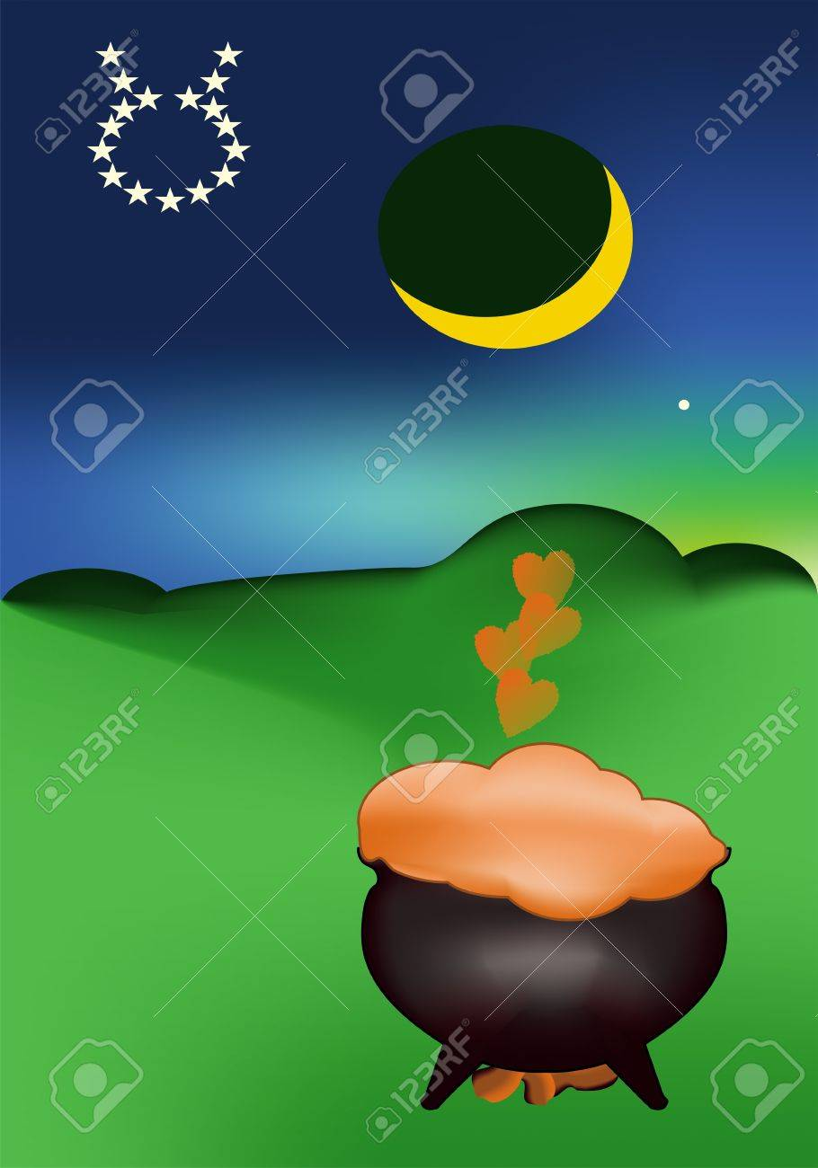 Love potion under Moon and Venus Stock Vector - 13981601