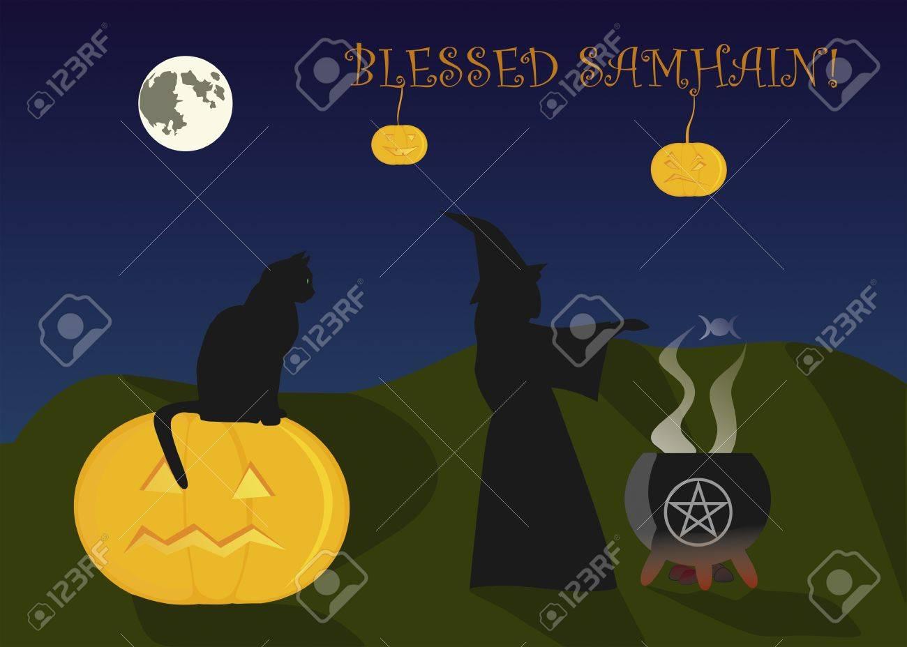 Greeting card to Halloween, or Samhain Stock Vector - 15649618