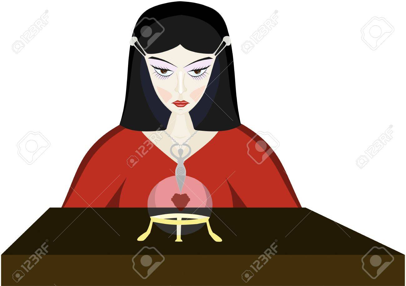 Young fortune-teller witch with a crystal ball Stock Vector - 16771295