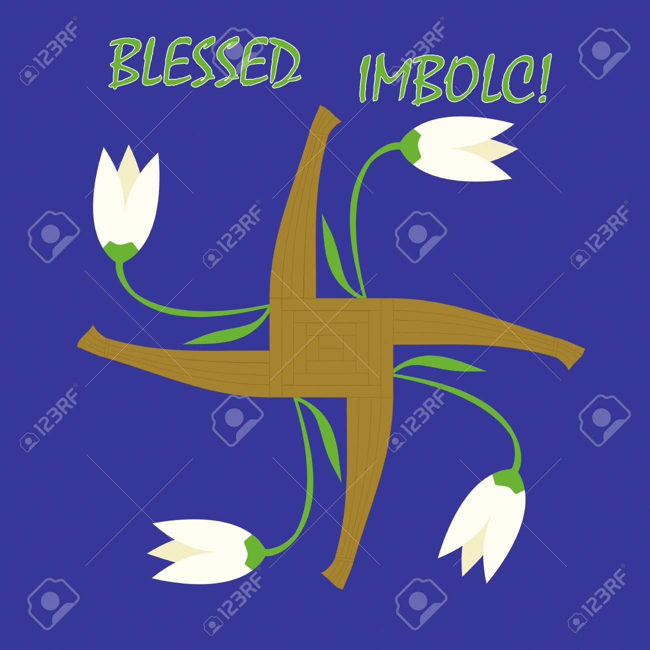 Imbolc greeting card with a cross of Goddess Brigid and first spring flowers Stock Vector - 17084341