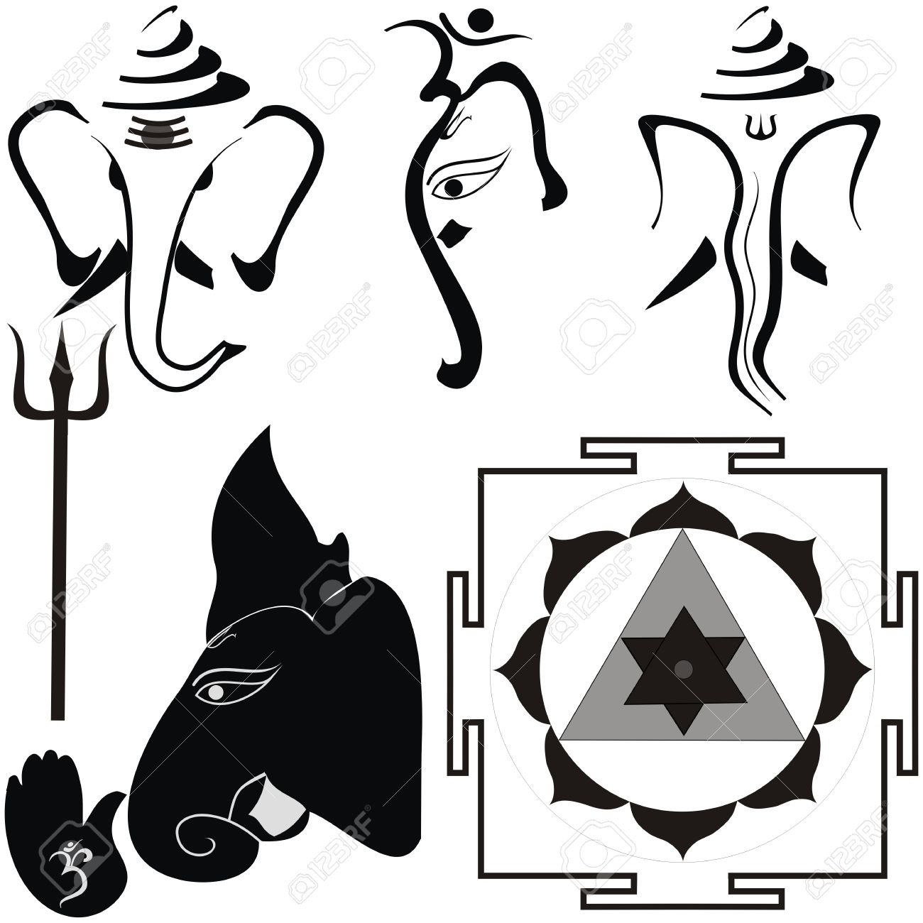 Hindu God Shri Ganesha and his attributes, yantra and trishul Stock Vector - 23116121