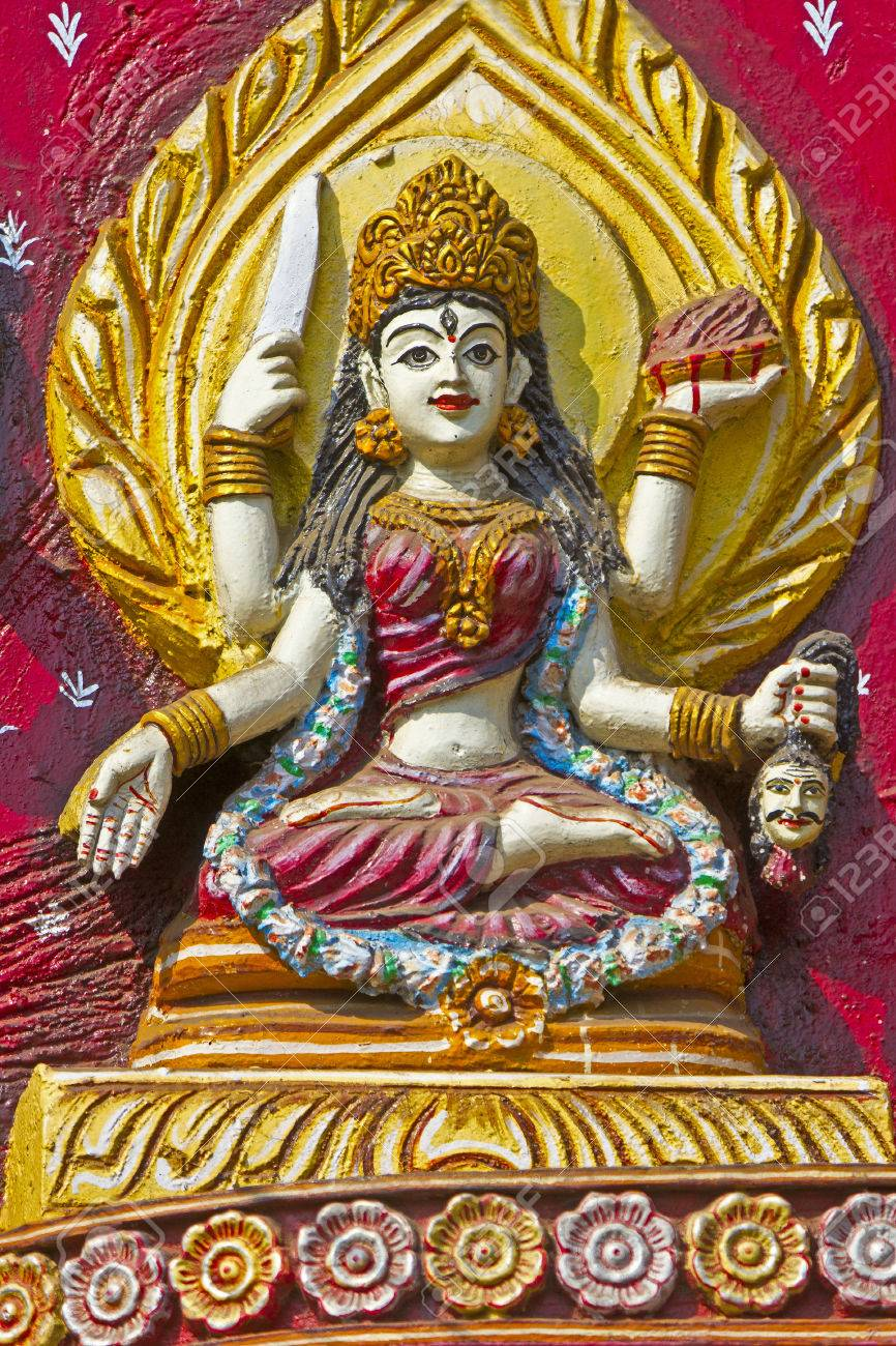 Image of Hindu Goddess on the wall of Kali temple in Puri Stock Photo - 28101392