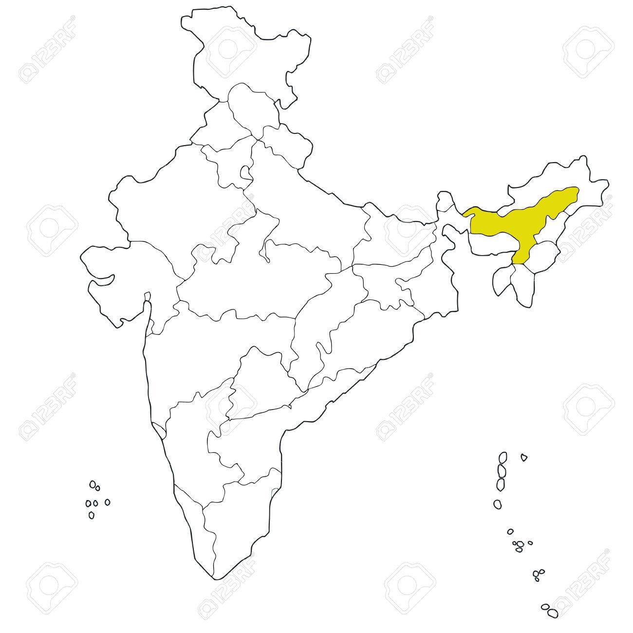 North Eastern State Assam On The Map Of India Royalty Free Cliparts