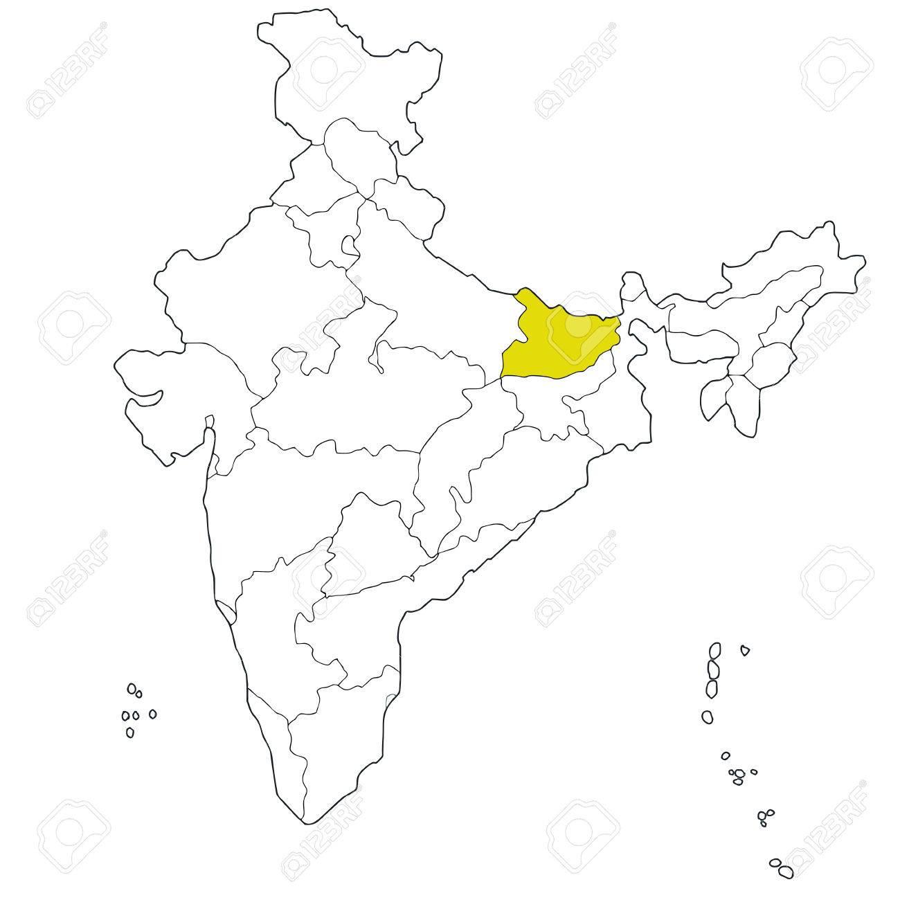 インドの地図北東状態ビハール州...