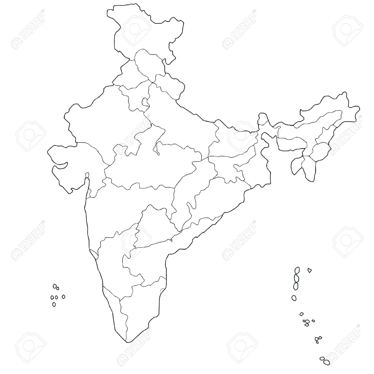 Attractive Outline Map Of The Republic India With The Borders Of The States And Union  Territories,