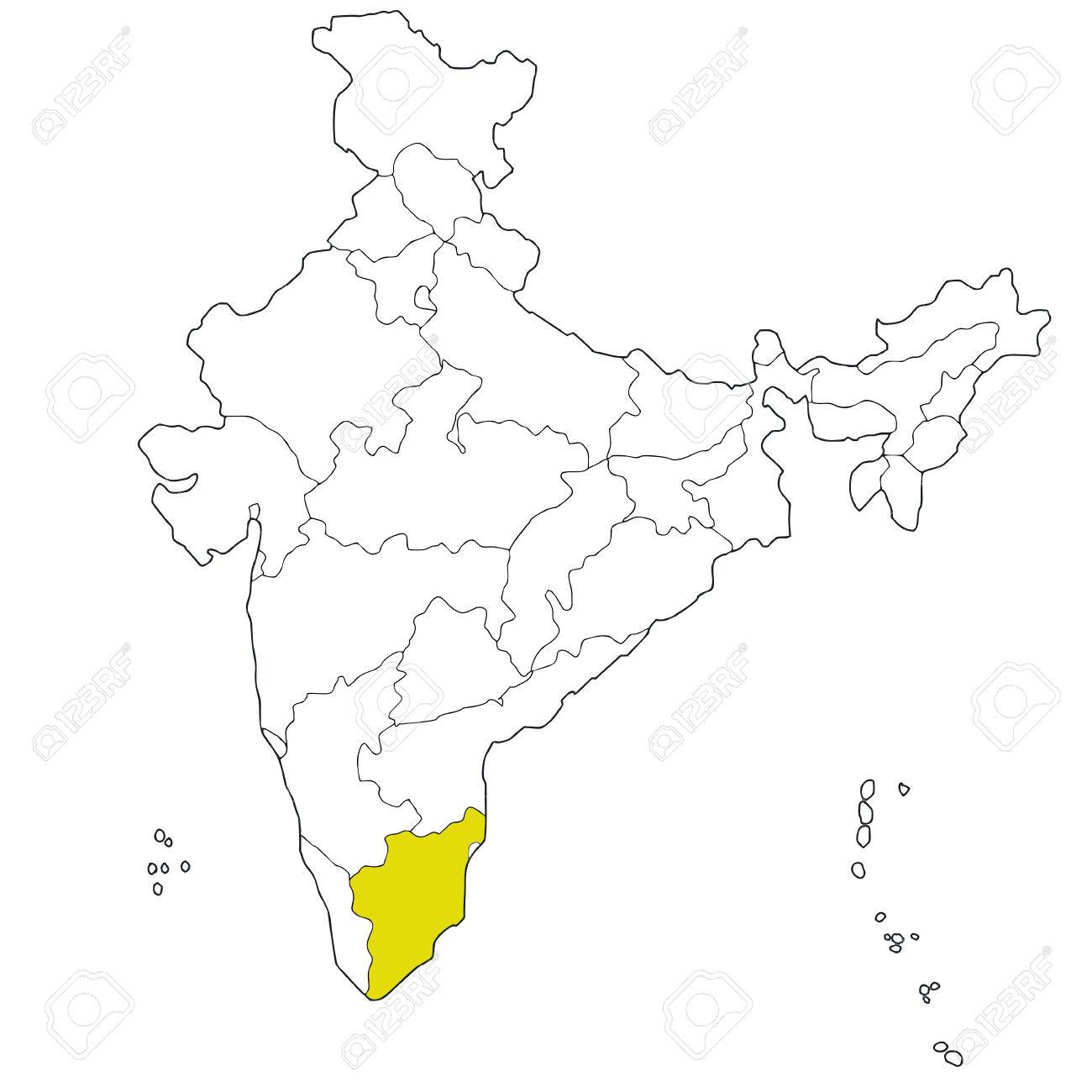 Southern State Map.Southern State Tamil Nadu On The Map Of India Royalty Free Cliparts