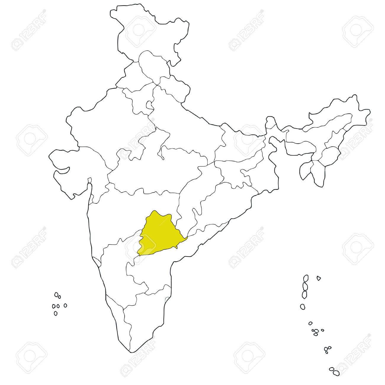 Carte Du Sud Est De Linde.Nouvel Etat Du Sud Est Telangana Sur La Carte De L Inde Clip Art