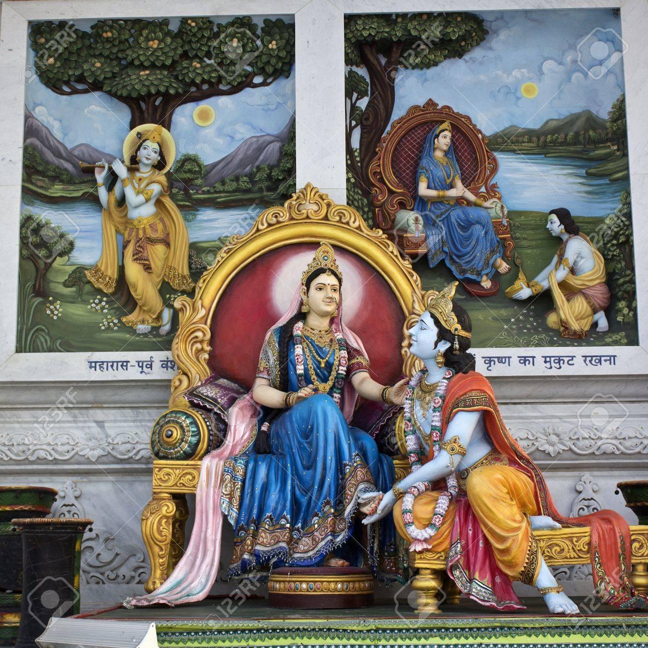 35493707 march 2 2014 vrindavan uttar pradesh india sculpture of radha and krishna close to prem mandir or te
