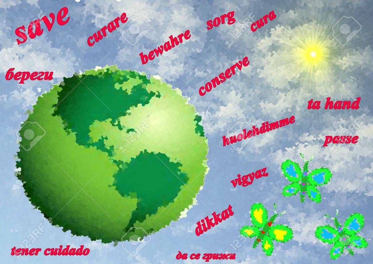Green Planet Earth With Inscription Save On Different Languages - Languages on earth