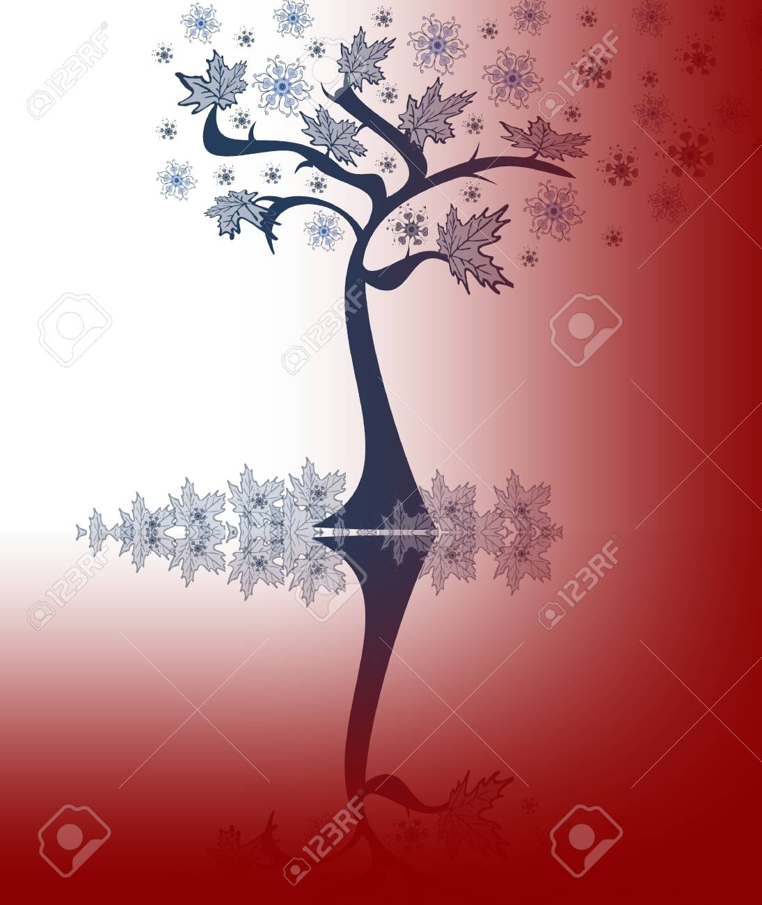 Abstraction  tree with leaves, snowflakes on a red-white background Stock Photo - 15754260