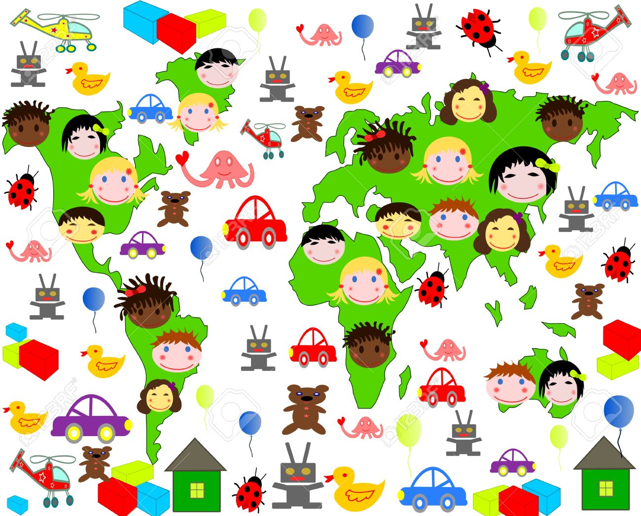 persons of children of different races on the map of the world