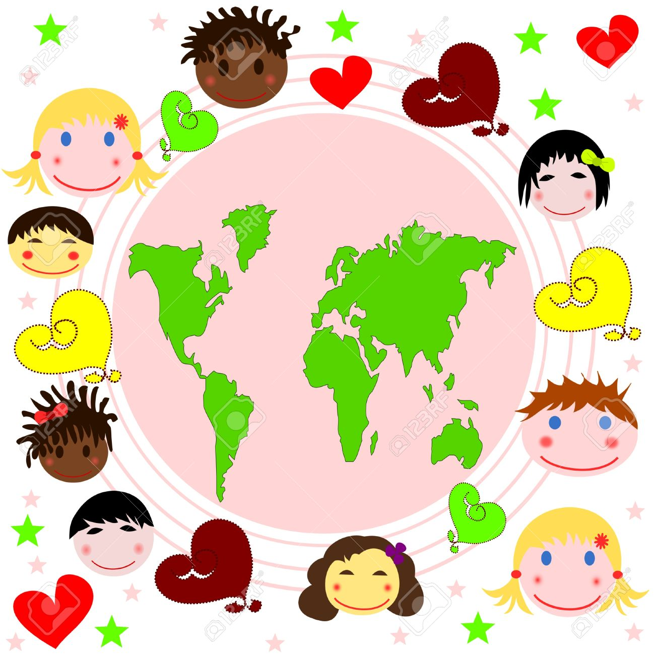 Races Of The World Map.Map Of The World Faces Of Children Of Different Races And Hearts
