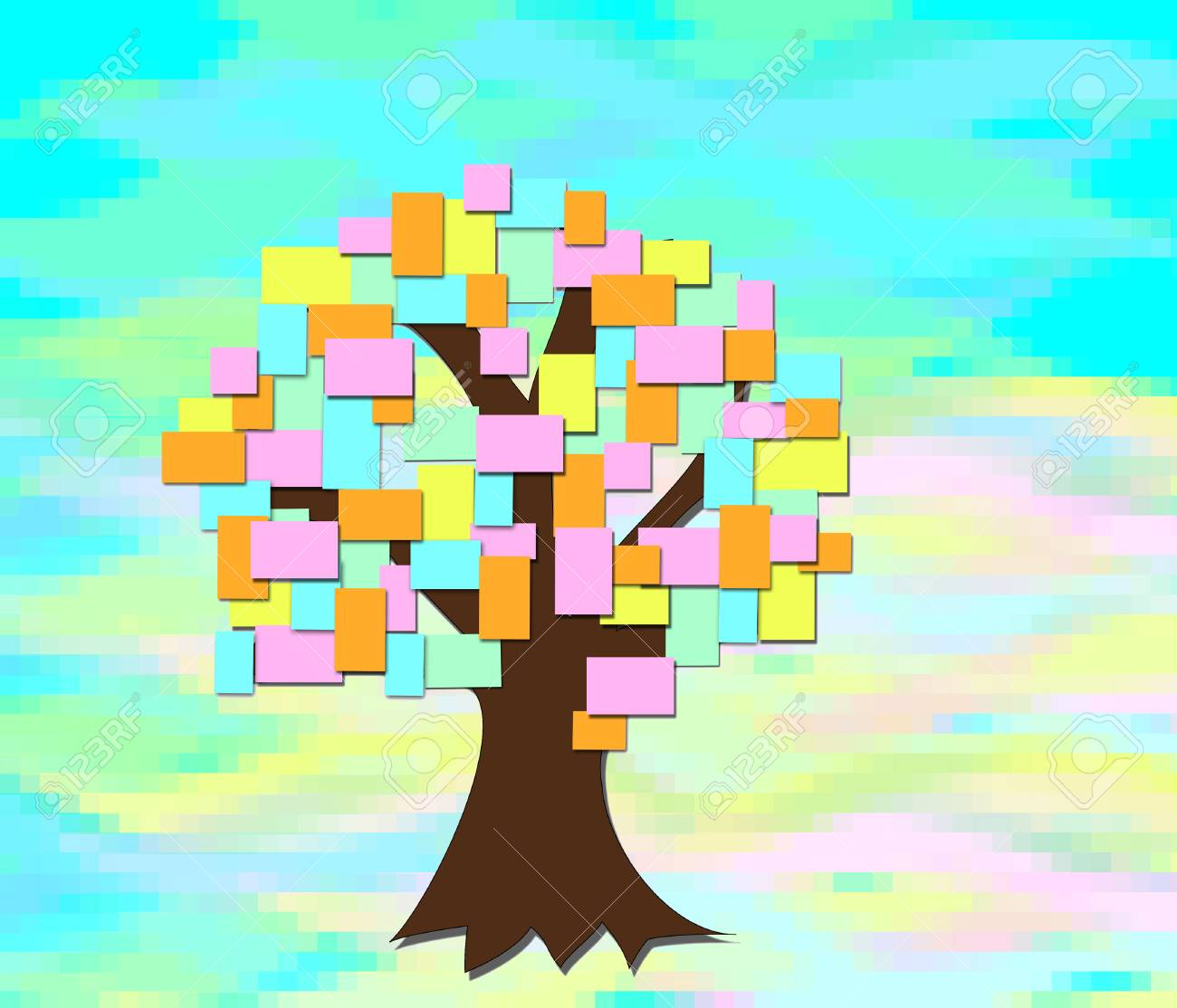 The Tree Grows With Colored Sheets Of Paper On An Abstract ...