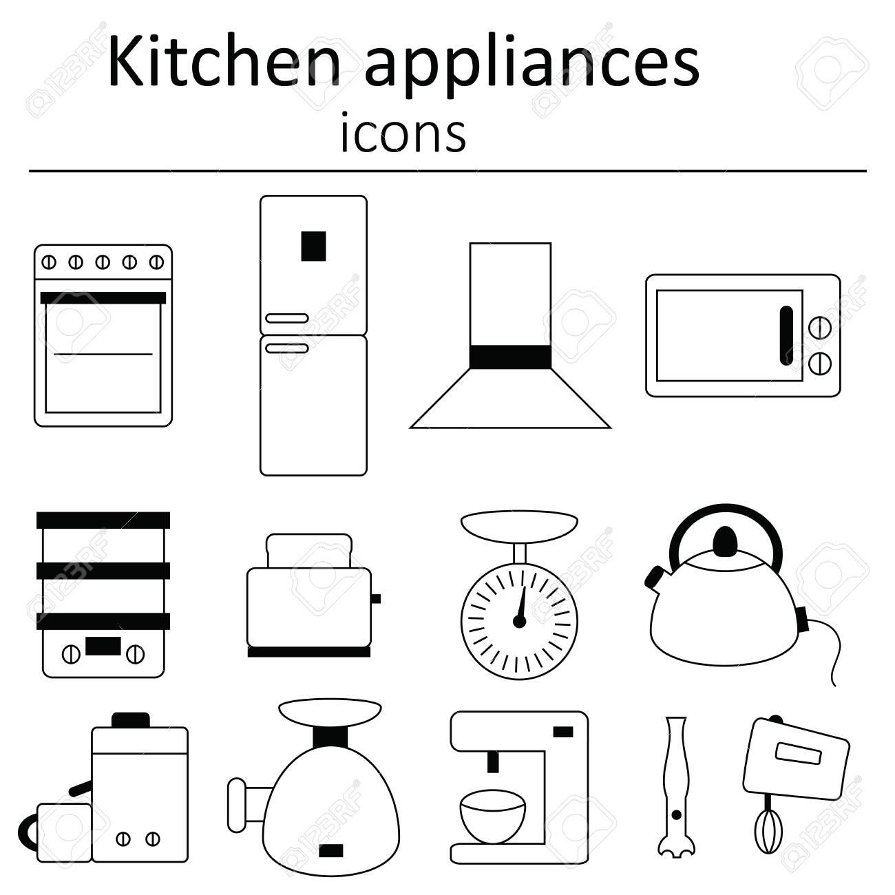 Collection Of Icons Kitchen Appliances Icon Set Of Kitchen