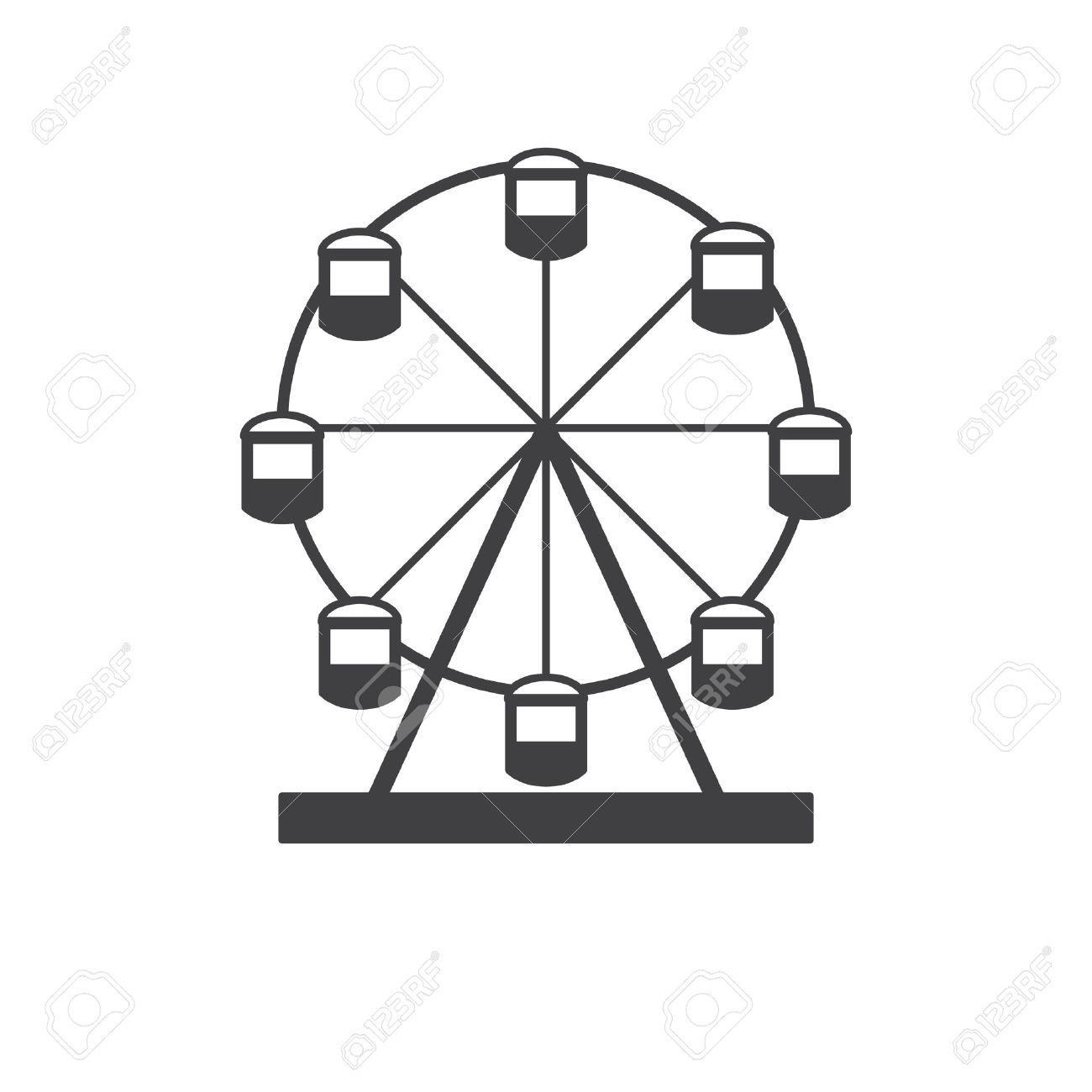 Ferris Wheel Silhouette Of A Ferris Wheel Icon Ferris Wheel Isolated On White Background Royalty Free Cliparts Vetores E Ilustracoes Stock Image 56300970