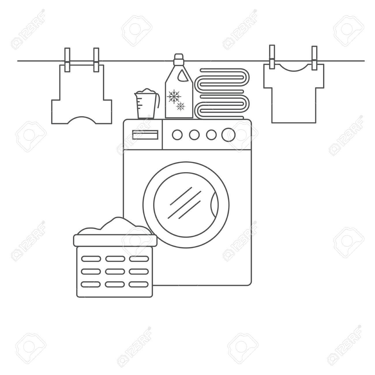 Laundry room for washing and drying items. Laundry room with washing machine, linens and laundry facilities. Laundry room in the style of the line. Vector illustration. - 58294003