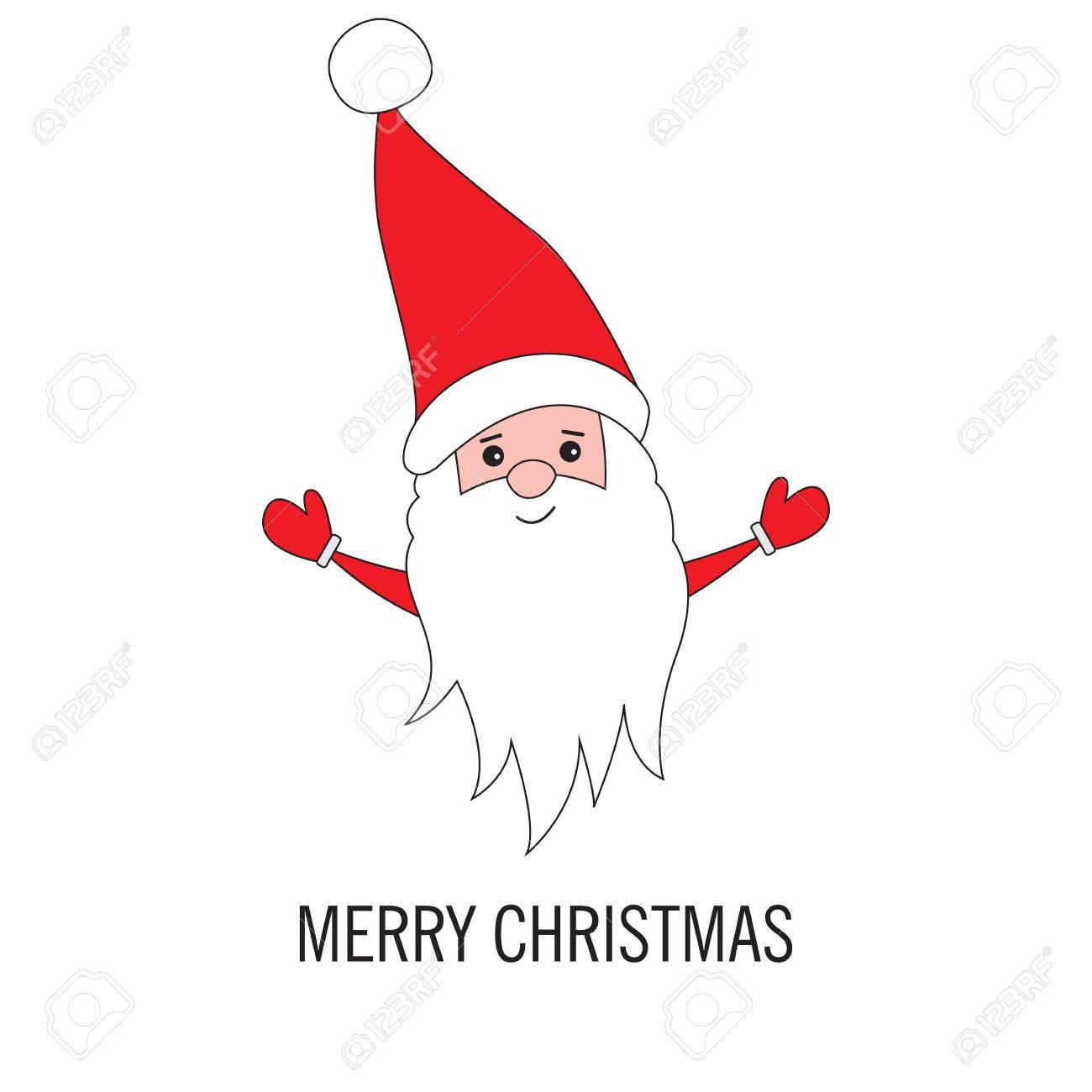 Weihnachten Santa Claus Isoliert Auf Weißem Hintergrund. Grußkarte ...