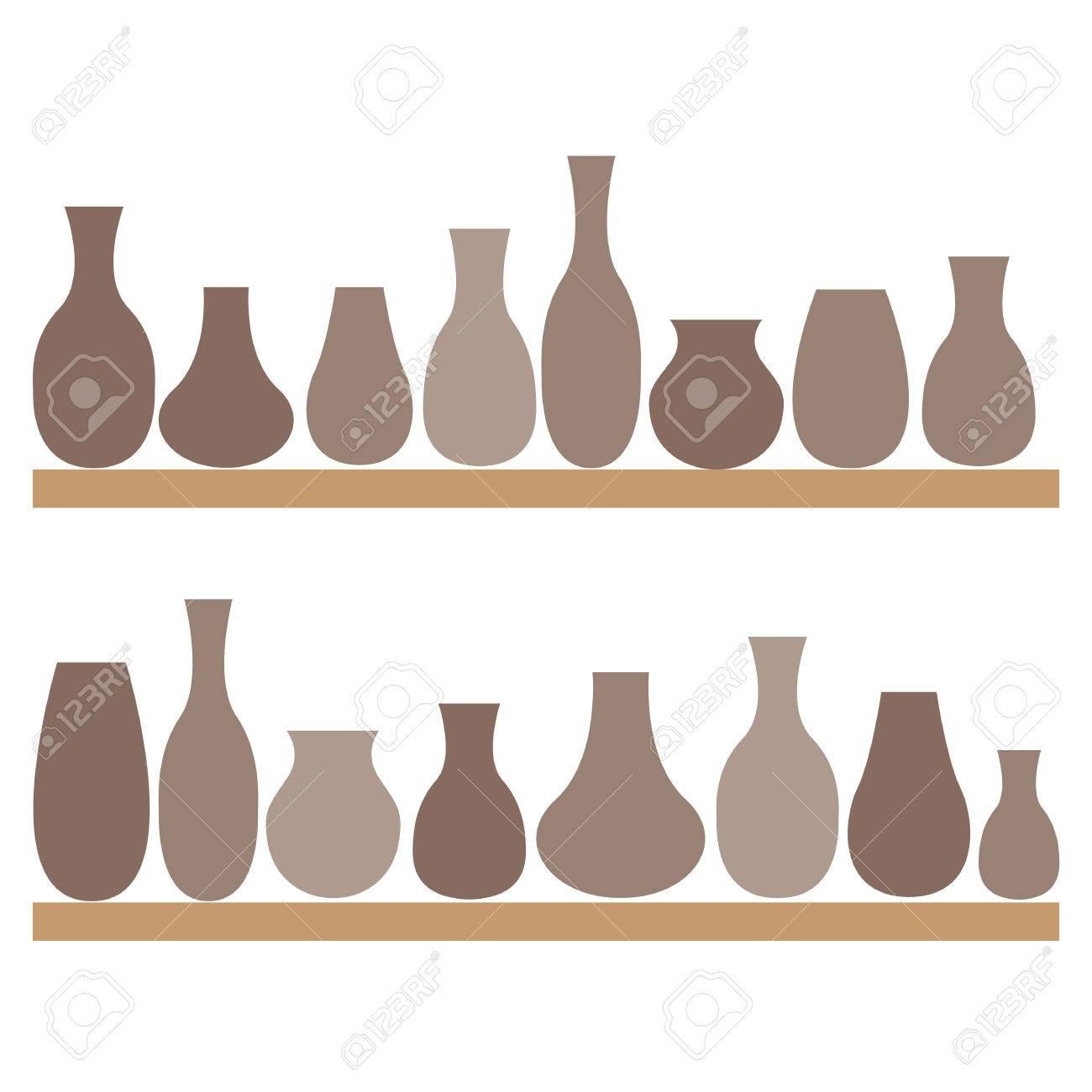 粘土の水差しと棚の上の花瓶陶器イラストのイラスト素材ベクタ