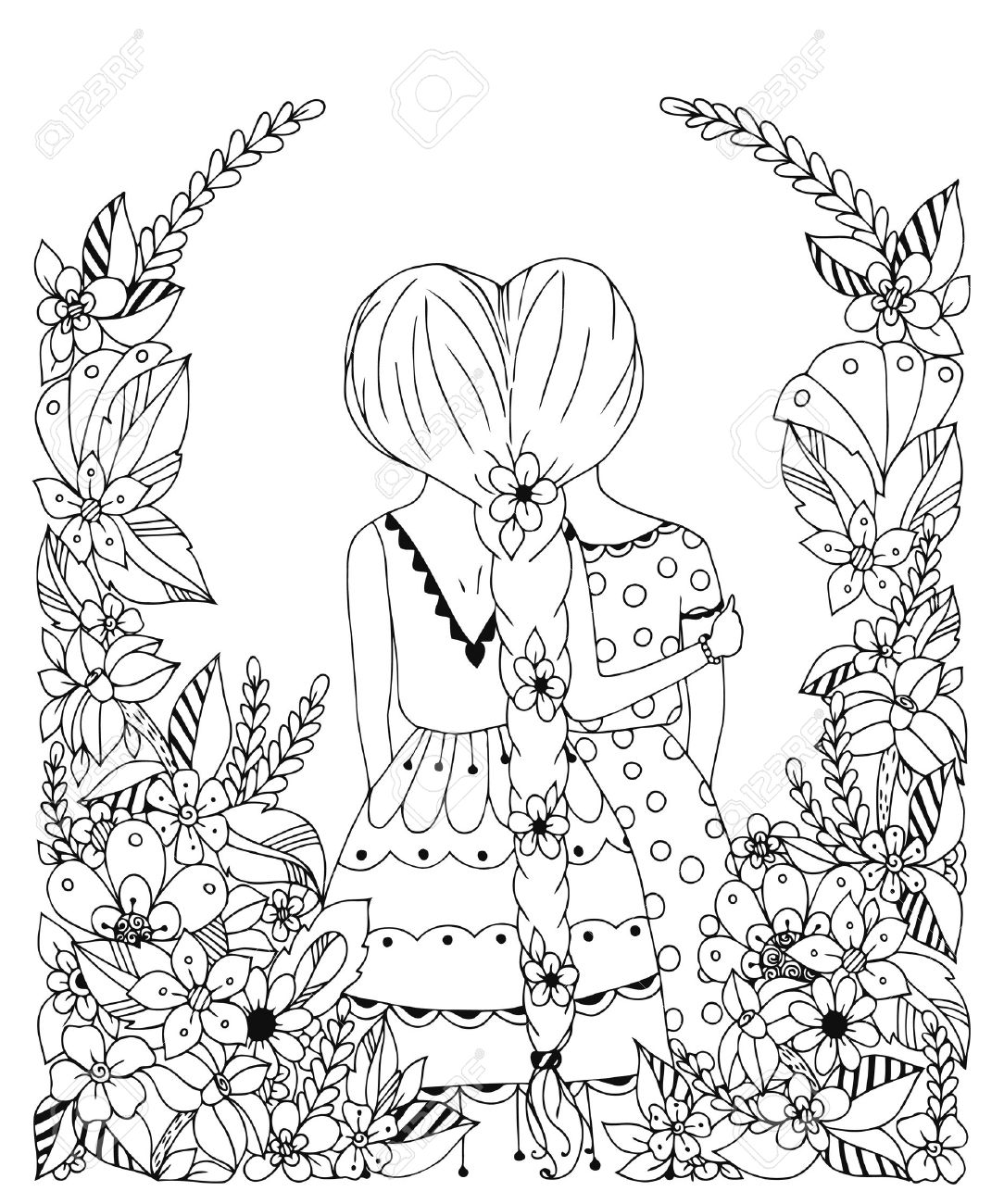 Vector illustration zentangl girl friend in a flower frame, doodle, flowers, spit back. Hugs, friendship. Coloring book for adult anti-stress. Black and white. - 54512461