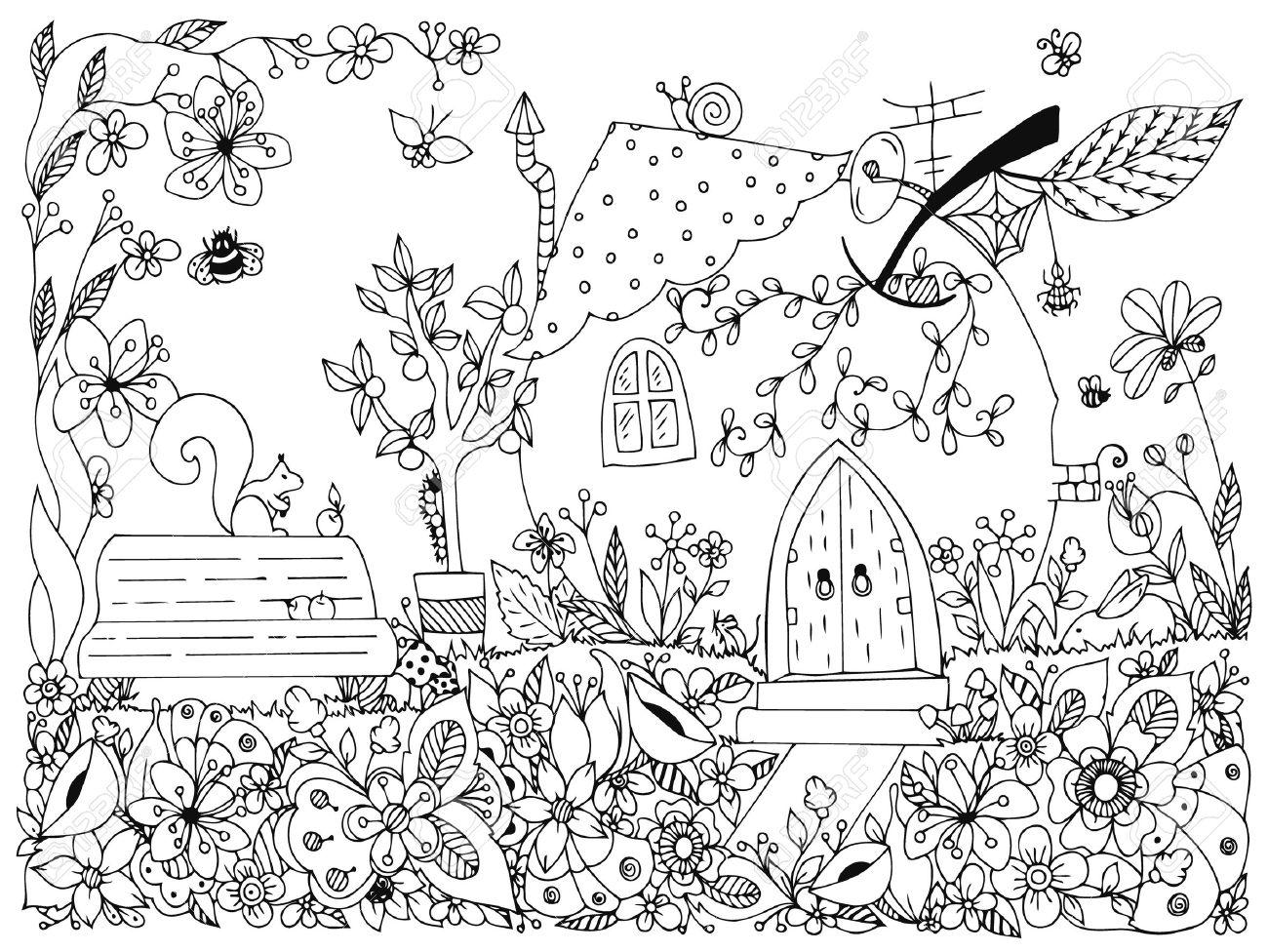 Parque Ejemplo, Jardín: Un Banco, Un árbol Con Manzanas, Flores ...