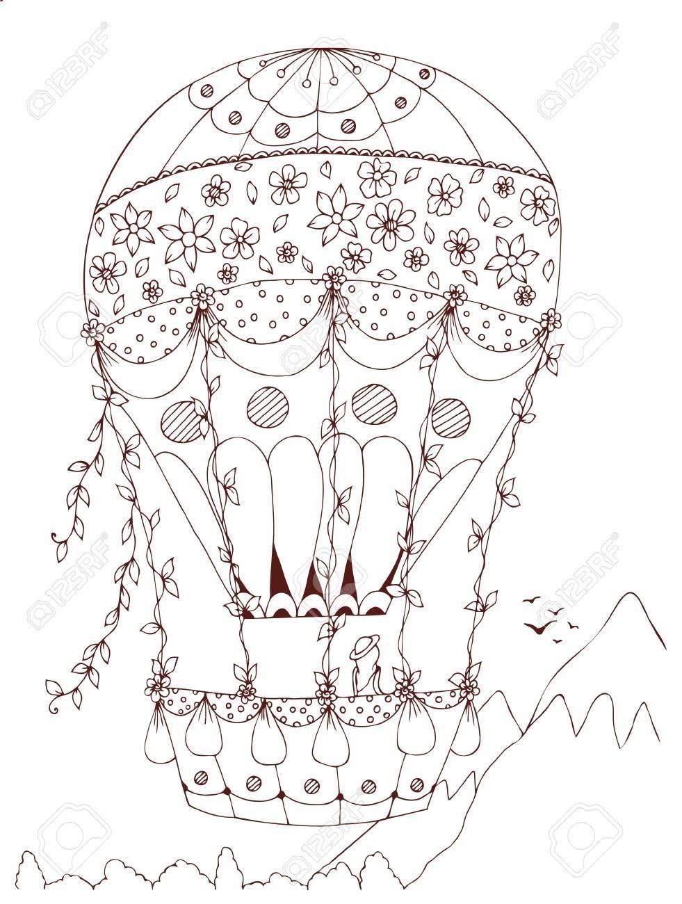 Herzförmiger Heißluftballon, Design Für Den Valentinstag. Design