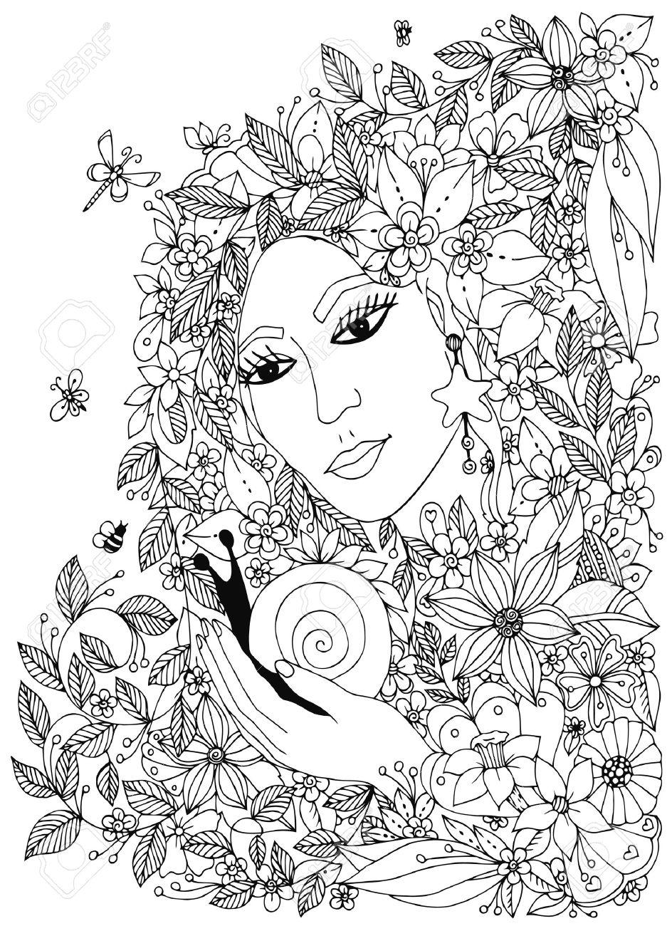 Mujer Con El Caracol En Los Colores. Diseño Para Adultos Libros Para ...