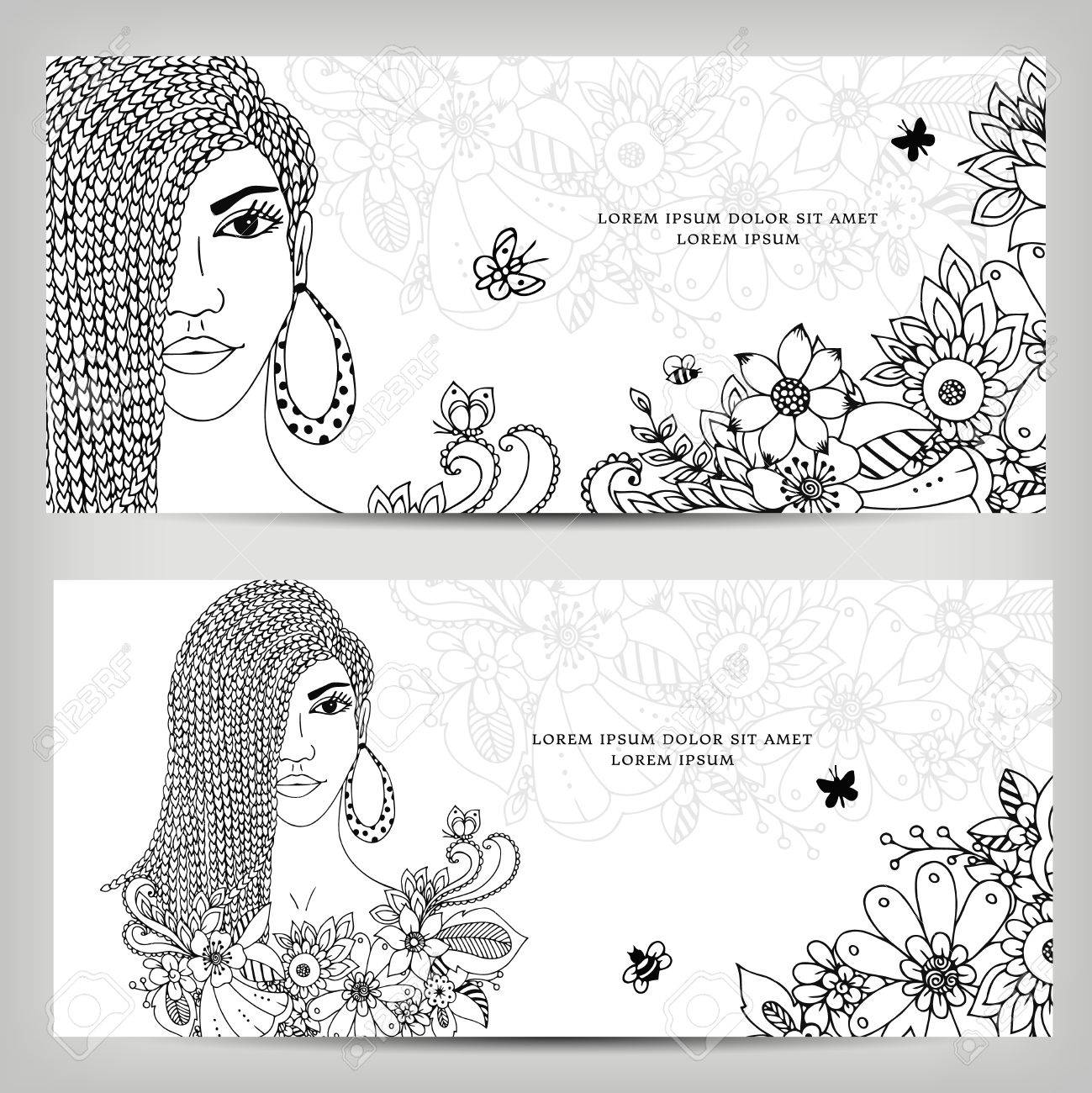 Vector Illustration Cards Banners Woman With Dreadlocks In Colors ...