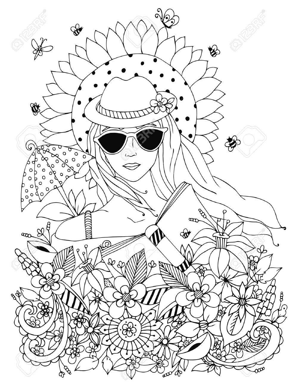 Vector Illustration Griffonnage Portrait D Une Femme Une Fille Dans Une Boite A Chapeau Floral Ete Lunettes De Soleil Parapluie Soleil