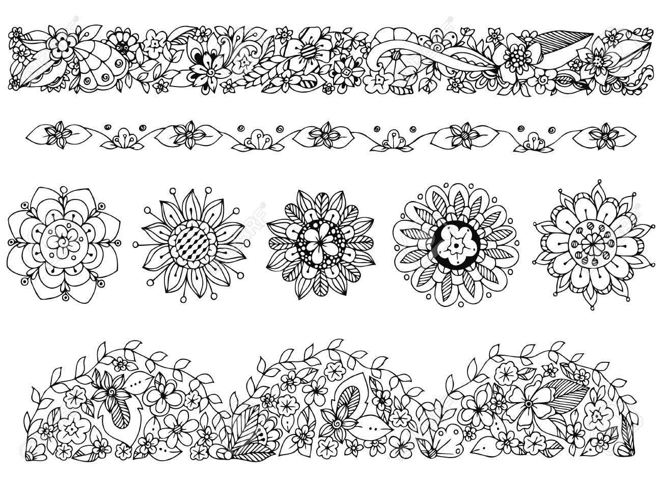 Coloriage Cadre Fleur.Vector Dessin Ornement Cadre De Griffonnage Fleurs Illustration
