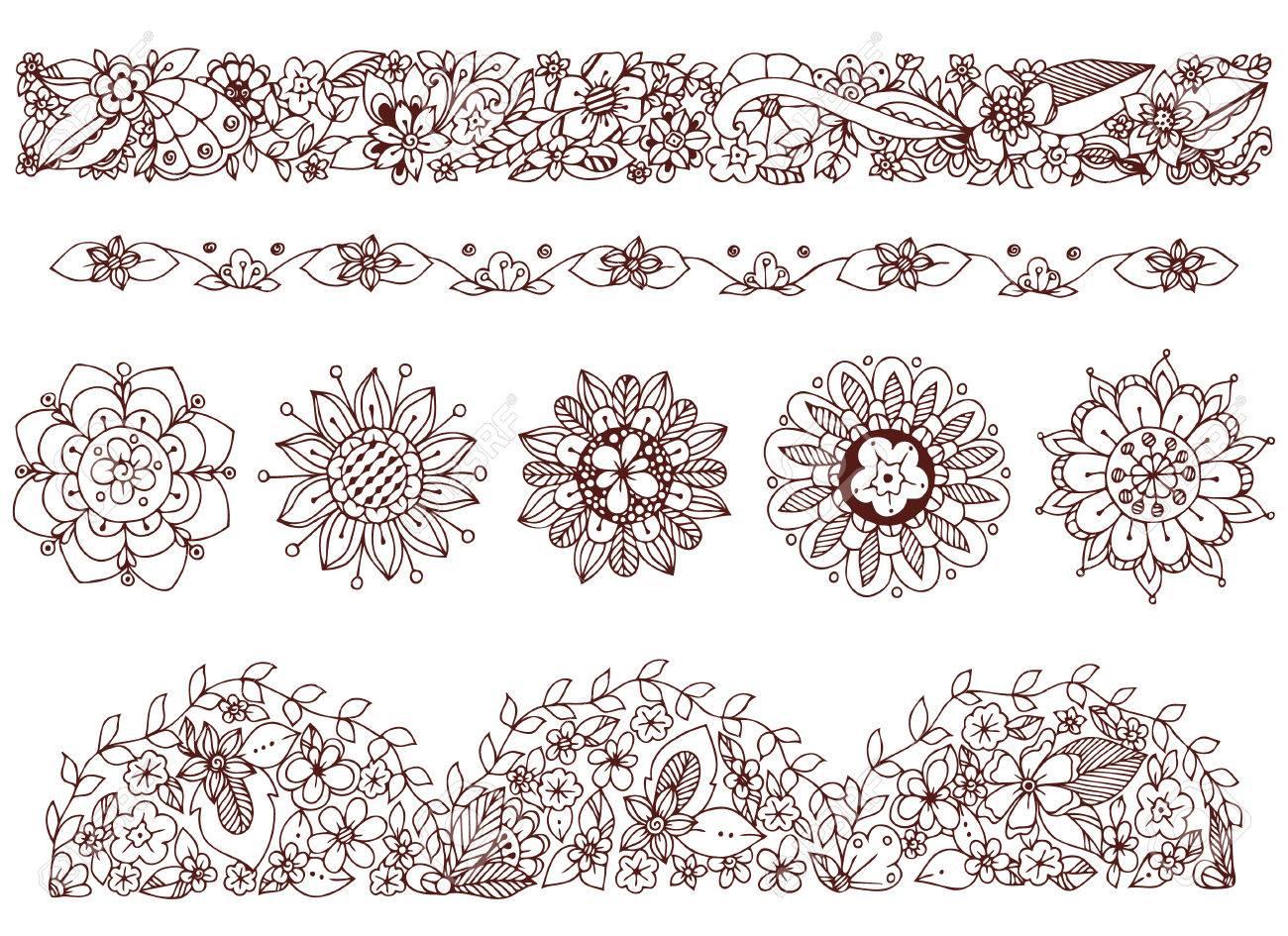 Vektor-Illustration Zeichnung, Ornament, Gekritzelrahmen, Blumen ...