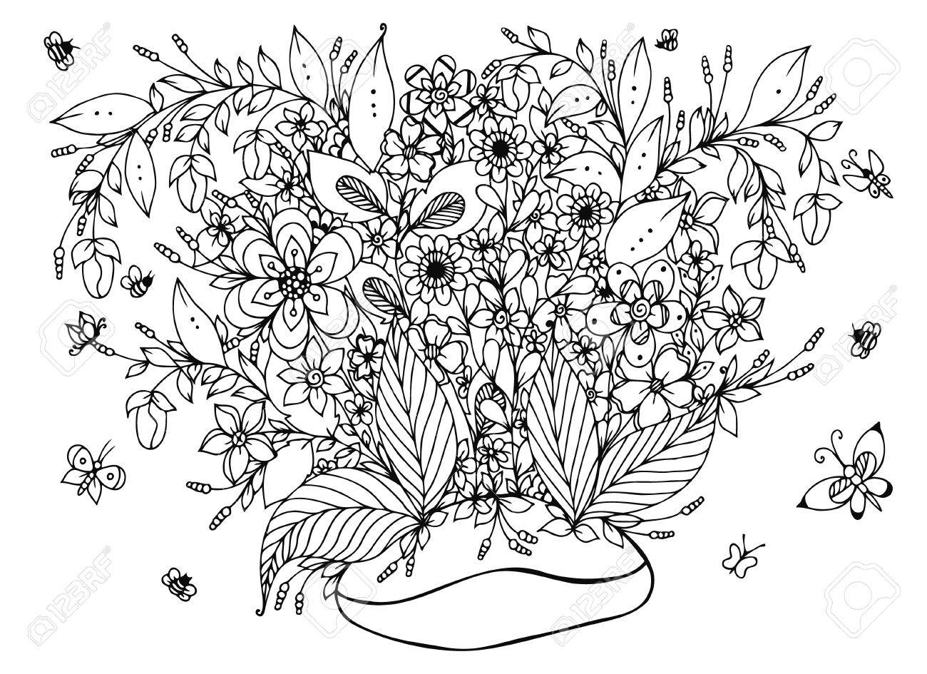 Vector Illustration Coffee Beans With Flowers. Coffee, Doodle ...