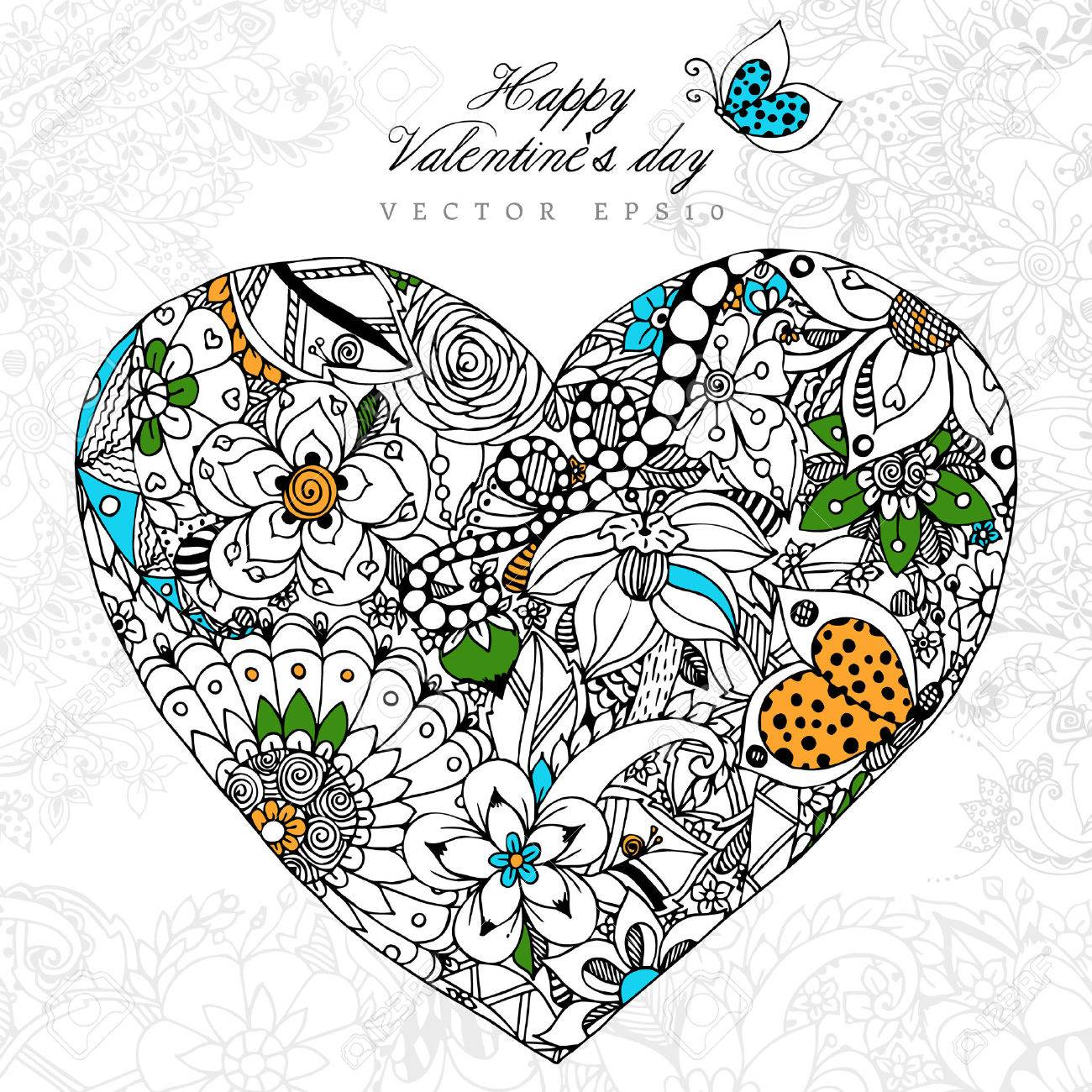 Vektor-Illustration Grußkarte Happy Valentine Day Heart, Dudling ...