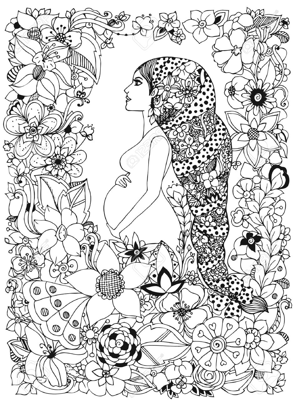 Ilustración Vectorial Mujer Embarazada En Un Marco De Flores ...