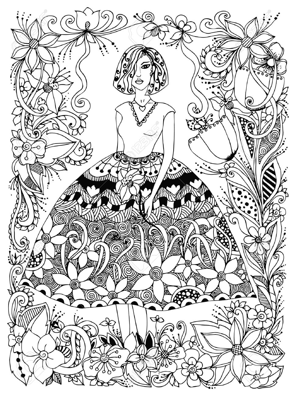 Vector illustration girl holding flower in lush dress full growth. Frame of flowers, doodle, zenart. Black and white. Anti-stress. Adult coloring books. - 56031760