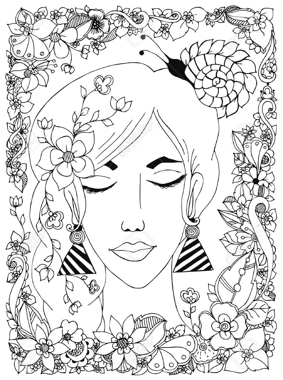 Coloriage Adulte Personnage.Vector Illustration Fille Avec Des Fleurs Et Des Ongles Sur La Tete