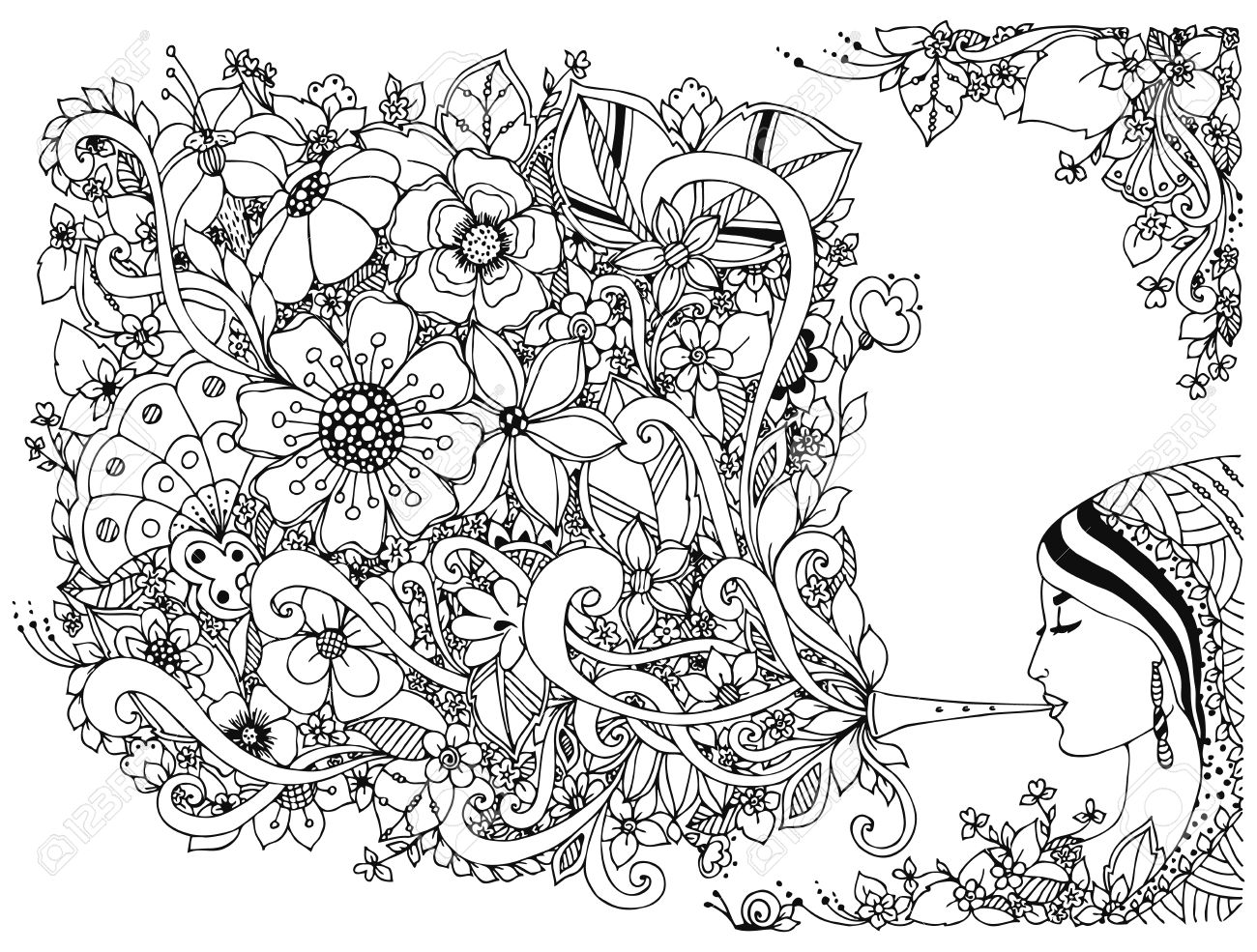 Vector vector illustration woman girl and flute with flowers coloring anti stress black and white adult coloring books musical instrument music