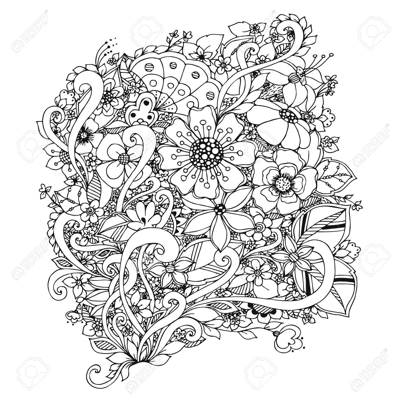 Vector Illustration Of Flowers Doodle. Adult Coloring Books. Royalty ...