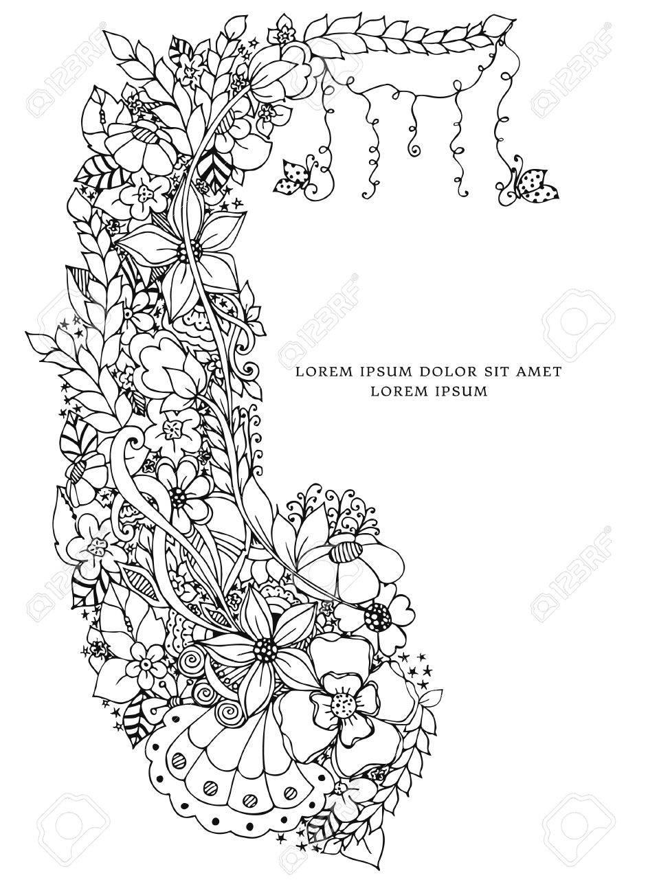 Vector illustration of floral frame doodling. Zenart, doodle,..