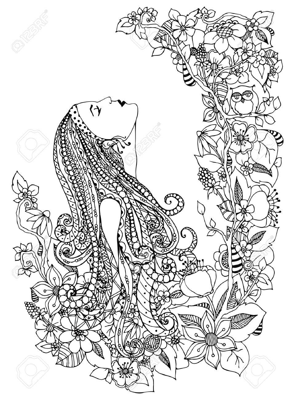 Ilustración Vectorial De La Mujer En Flores. Él Mira Hacia Arriba ...